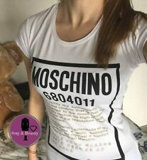 White New Sexy Women T-Shirt Top Tee Moschino Newspaper