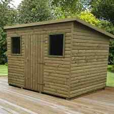 GARDEN SHED LOGLAP PENT ROOF TANALISED PRESSURE TREATED NO OSB BOARD