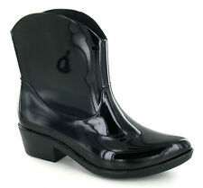 Spot On X1220 Ladies Black PVC Pull on Cowboy Style Ankle Wellies Festivals