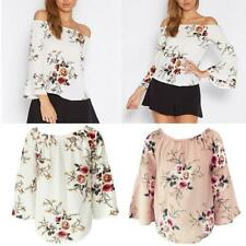 Boho Women Summer Off Shoulder Casual Long Sleeve Floral T-Shirt Top Blouse
