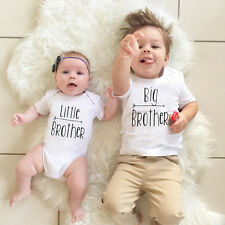 Little Brother Baby Boys Romper Bodysuit Big Brother T-shirt Matching Outfits C