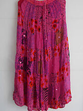 Patchwork Tiered Hippy Boho Maxi Skirt Crinkle Georgette Bohemian - Pink / Teal