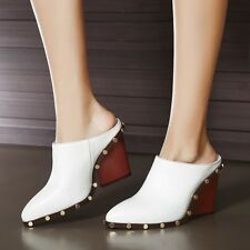 Stylish women's black or white wedge high heels dress shoes loafers boots pumps