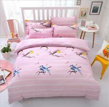 Pink Bird Bed Pillowcases  Quilt Cover Duvet Cover Set  Single Double King Size