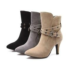 Womens Faux Suede Pointed Toe Stiletto High Heels Buckle Ankle Boots Pump Shoes