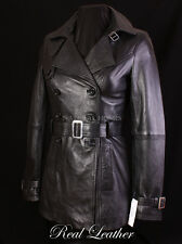 Ladies PARIS Black Lambskin Leather Womens Hip-Length Trench Jacket Coat Mac