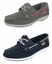 Womens Ladies Real Suede Leather Boat Deck Shoes Loafers Blue Grey 3 4 5 6 7 8
