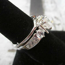 Round & Emerald Cut Silver Platinum Plated 2 Set Wedding Band Ring Size 5-10