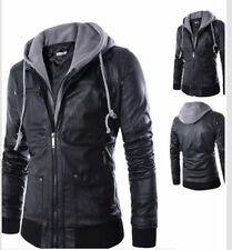 European Style Men's New Leather Jackets Black Slim Fit Hooded Motorcycle Coats