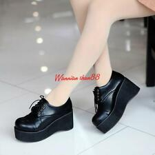 Goth Womens lady Wedge Mid Heels Platform Creeper Lace Up Punk Shoes Boot