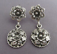 3D VINTAGE HEAVY STERLING REPOUSSE FLOWER FLORAL DANGLE PIERCED EARRINGS