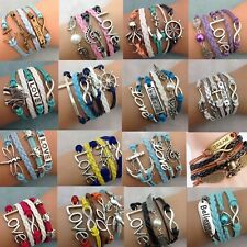YOU Pick Style !NEW Fashion Jewelry Leather Cute Infinity Charm Bracelet Silver