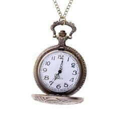 Antique Train Carved Quartz Full Hunter Pocket Watch with Chain Vintage Bronze