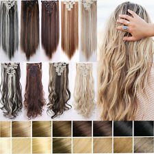 """UK 17-26"""" 8Pcs Full Head Clip in Hair Extensions Real Natural Hair Extension TF8"""