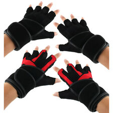 Men PU Leather Sports Workout Half Finger Fitness Gloves Pair