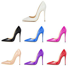 Verocara Women Pointed Toe Stiletto High Heel Solid Color Patent Dress Pump Shoe