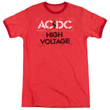 Acdc High Voltage Stencil Mens Adult Heather Ringer Shirt Red