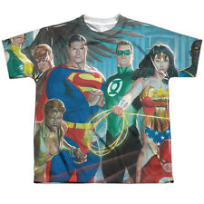 Justice League League Of Heroes (Front Back Print) Big Boys Youth Shirt