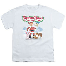 Santa Claus Is Comin To Town Animal Friends Big Boys T Shirt White