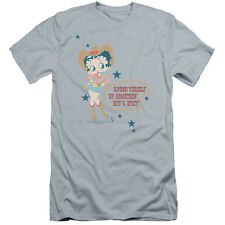 Betty Boop Hot And Spicy Cowgirl Mens Premium Slim Fit Shirt
