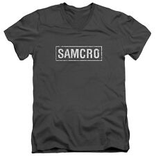 Sons Of Anarchy Samcro Mens V-Neck Shirt Charcoal