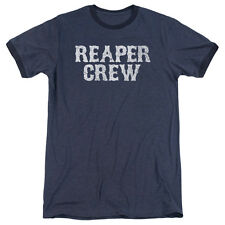 Sons Of Anarchy Reaper Crew Mens Adult Heather Ringer Shirt Navy