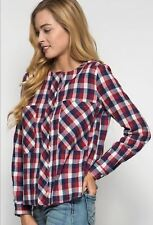 Boutique Plaid Flannel Blouse Top Button Front Red White Blue Cotton Blend