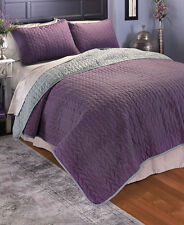 Reversible 3-Pc. Quilt Set Light Weight Super Soft Microfiber Herringbone Design