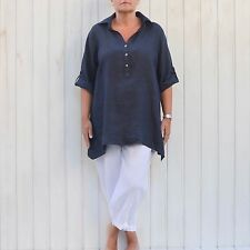"Womens Plus Size Linen Shirt 16-26 Casual LAGENLOOK Top Blouse 54"" Bust New 8934"