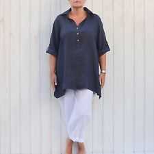"Plus Size Linen Shirt 16-26 Womens Casual LAGENLOOK Top Blouse 54"" Bust New 8934"