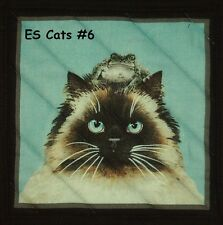 """Select 1 or 7 Variations- ES-""""Curious Cats""""  Quilted-Insulated-Hot Pad-Table Mat"""