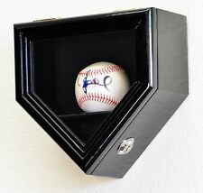 1 Baseball Ball Home Plate Shaped Display Case Wall Cabinet w/98% UV DOOR- Locks