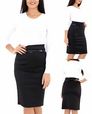 WOMENS LADIES WORK OFFICE JERSEY BELTED BODYCON PENCIL MIDI SKIRT PLUS SIZE 8-22