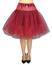 Chicstar Rockabilly Pin Up Retro Red Organza Petticoat Skirt 50's Vintage
