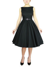 Chicstar Rockabilly Pin Up Retro Black Hepburn Tea Dress Vintage Swing Dance