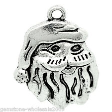 "Wholesale Lots Charm Pendants Father Christmas Silver Tone 25mmx20mm(1""x6/8"") GW"