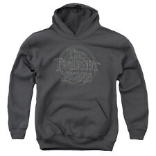 The Twilight Zone Spiral Logo Big Boys Youth Pullover Hoodie Charcoal