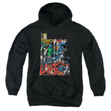 Justice League Lettered League Big Boys Youth Pullover Hoodie BLACK