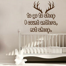 Hunting Wall Decal Quote I Count Antlers Not Sheep Nursery Vinyl Decal Art KI78