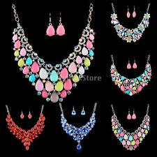 Hot Flower Prom Wedding Bridal Jewelry Crystal Rhinestone Necklace Earrings Set