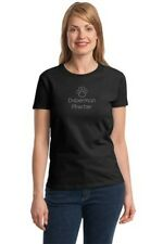 Doberman Pinscher - Ladies Rhinestone Black T-Shirt - Sizes Small through 3XL