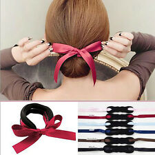2X Magic Sponge Hair Styling Donut Bun Maker French Twist Tool With Ribbon