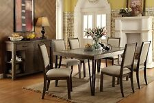 Caithe Dining Room 7pc Dining Set Rustic Oak Finish Dining Table & Chairs Home