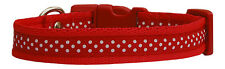 """red & white polka dots dog/puppy collar 4 sizes 3/4"""" 19mm cushioned"""