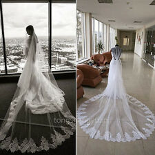 Cathedral Wedding Veils White Ivory 1 T Bridal Veils +Comb Lace Applique Newest