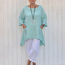 Ladies Lagenlook Plus Size 14 - 26 Tunic Top Quirky Womens Boho New Linen 3118P