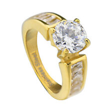 Gold Ion Plated Stainless Steel Round Cubic Zirconia Engagement Wedding Ring