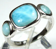 AAA Genuine Dominican Larimar Inlay 925 Sterling Silver Ring size 6,7,8,9