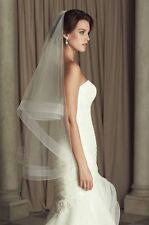 New White Ivory 2 T Wedding Bridal Veil Satin Edge With Comb Fingertip Length