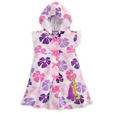 Disney Store Rapunzel Cover Up (White/Floral) Tangled Hooded Terry Cloth Purple